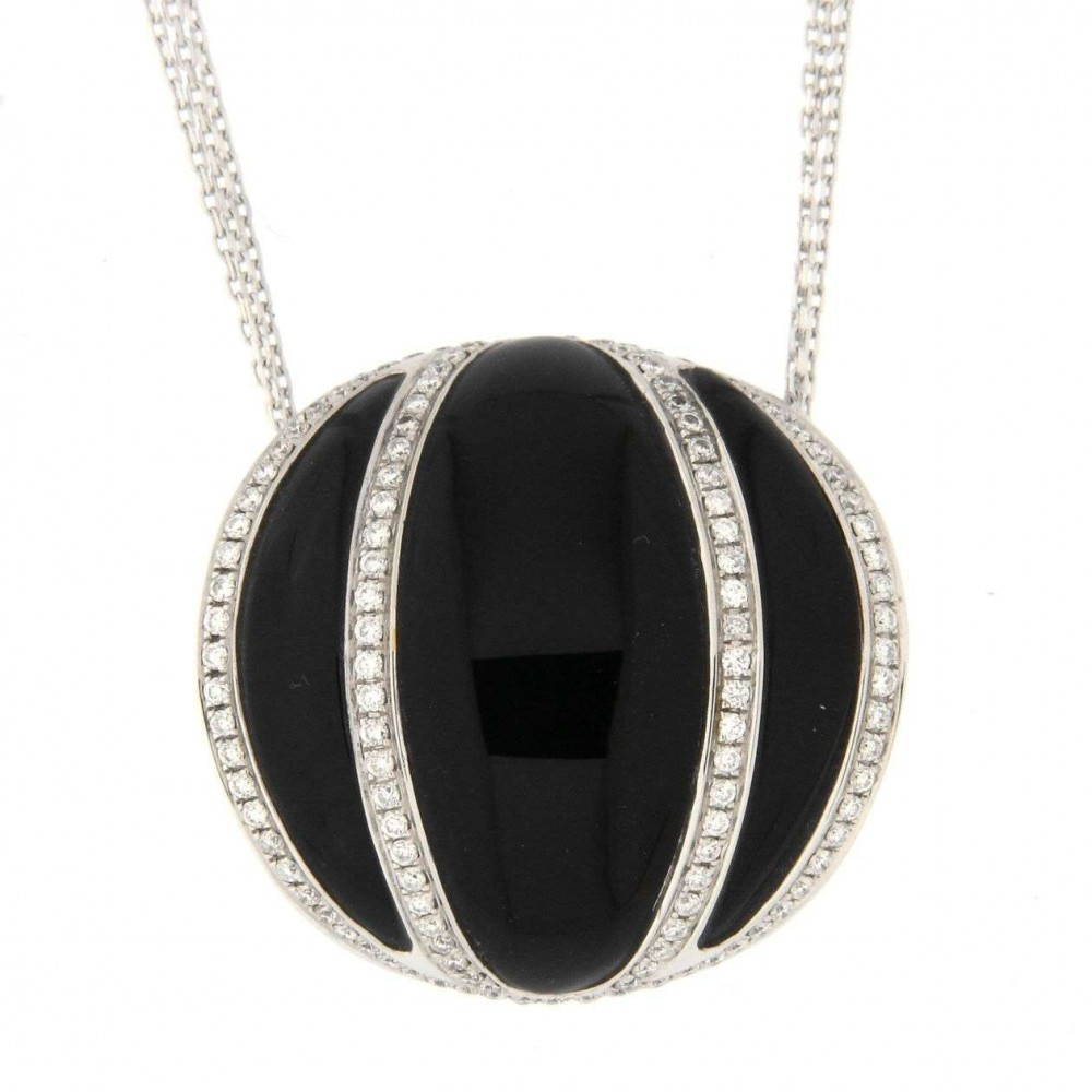 CHIMENTO NECKLACE WITH BLACK STONE 1G05140B15450 J181-07