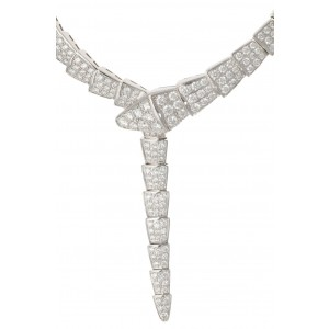 BVLGARI SERPENTI NECKLACE 348165 WHITE GOLD 14.74ct DIAMONDS J1237-20