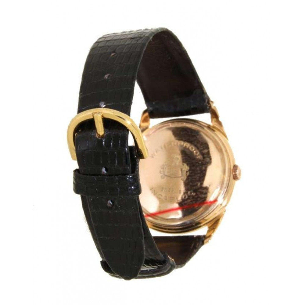 INCABLOC BAUMATIC YELLOW GOLD LEATHER 34MM W456 1234-02