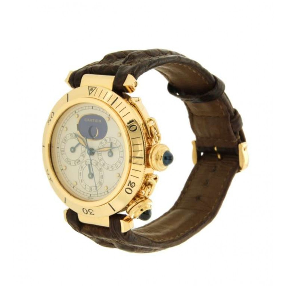PASHA TRIPLE TIME ZONE MOONPHASE YELLOW GOLD, 39MM W851 1986 0005 30002-04