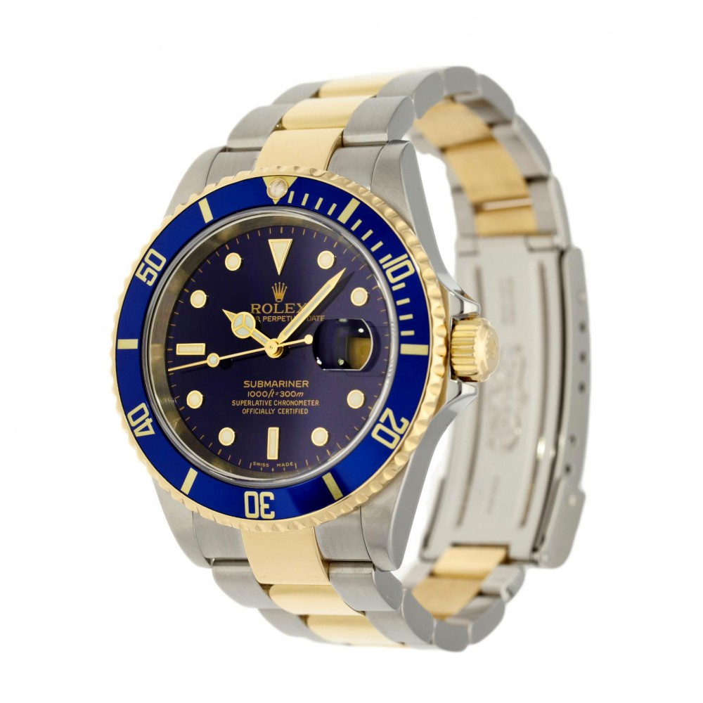 SUBMARINER 16613 STAINLESS STEEL YELLOW GOLD 18K BLU DIAL 40MM W4864 16613-04