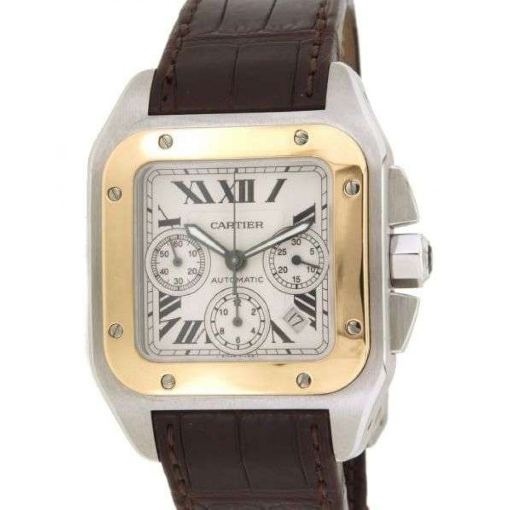 SANTOS 100 W20091X7 / 2740 CASE SIZE: 42MM X 54.90MM IN YELLOW GOLD BEZEL and STEEL CASE W497 W20091X7-07