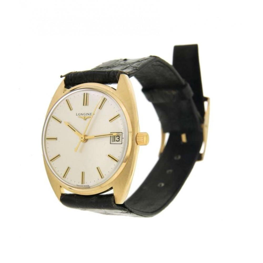 LONGINES CLASSIC IN YELLOW GOLD AND LEATHER, 34MM W748 123-06