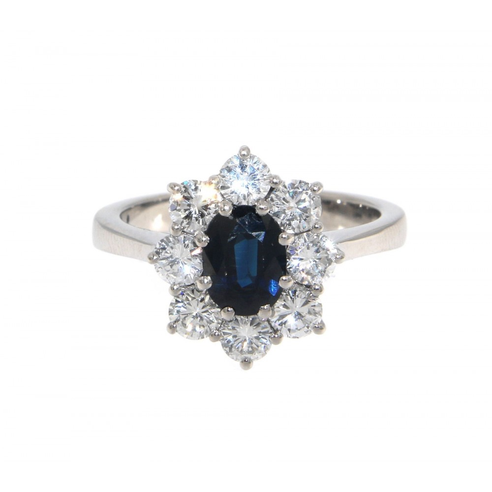 LADY D STYLE DIAMOND AND SAPPHIRE WHITE GOLD RING J809-03