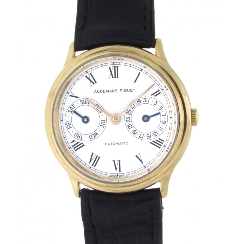 DAY DATE AUTOMATIC YELLOW GOLD LEATHER 33MM W1865 .-07