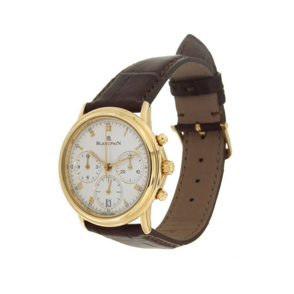 CHRONOGRAPH VILLERET 1185 IN YELLOW GOLD AND LEATHER, 34MM W772 1185-01