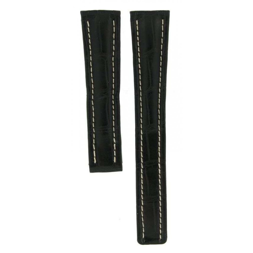BREITLING BLACK CROCODILE LEATHER STRAP FOR DEPLOYMENT BUCKLES 462P 19MM/16MM ACC28 462P-03