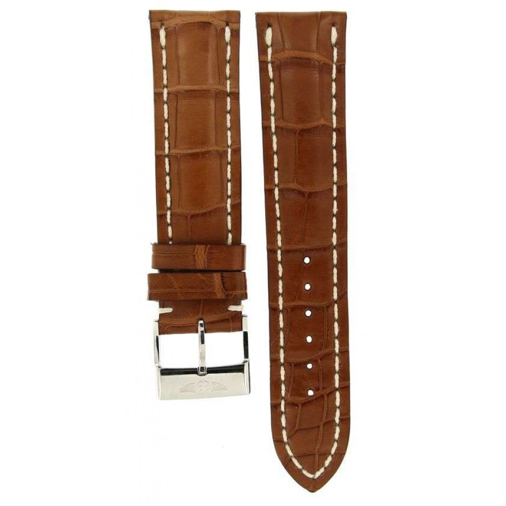 BREITLING BROWN CROCODILE LEATHER STRAP 737P 22MM/20MM ACC30 737P-02