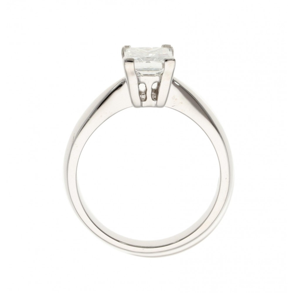 SOLITAIRE PRINCESS IN WHITE GOLD 1.06ct COLOR GRADE F CLARITY GRADE VVS2 RINGSIZE 53 J1311-05