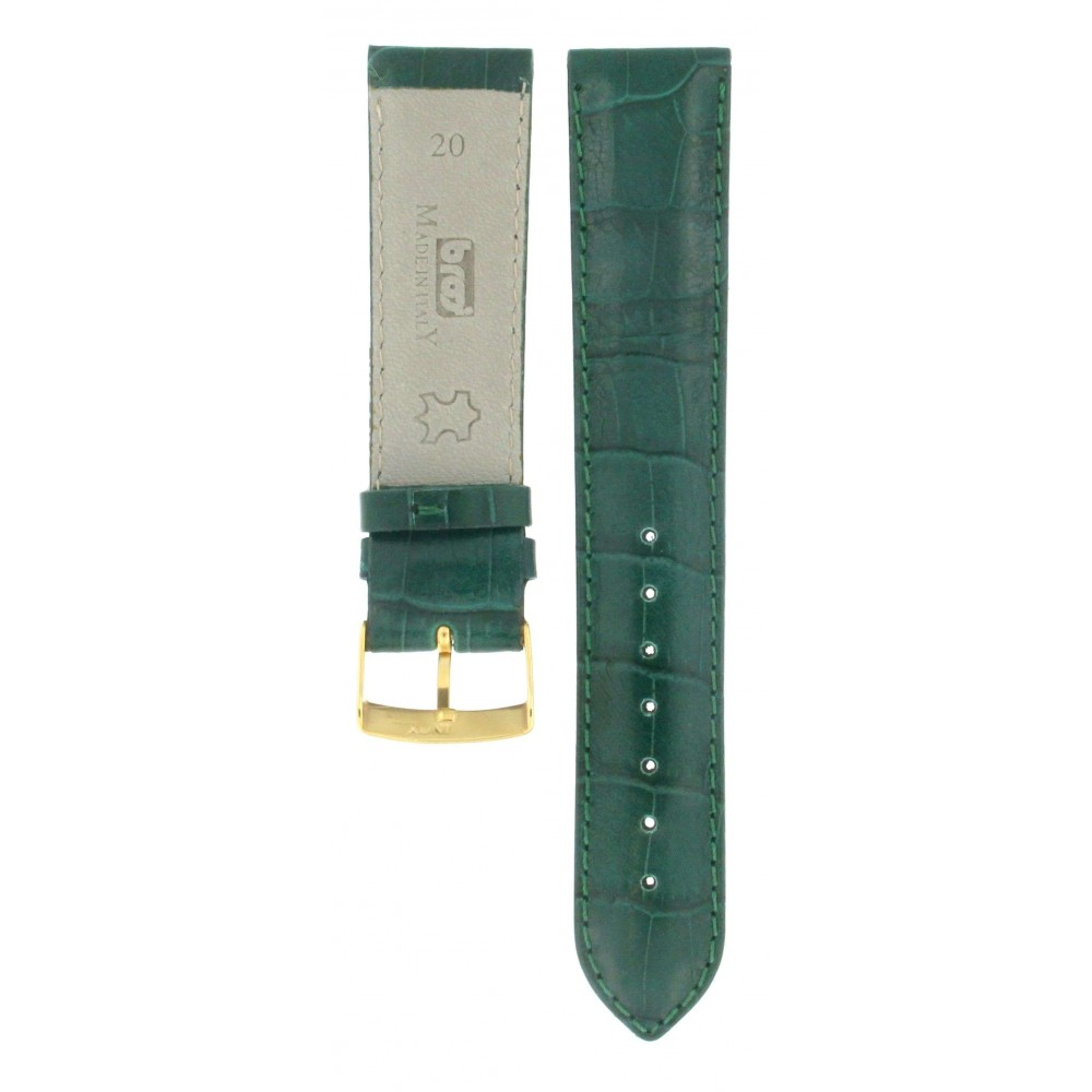 BROS GREEN LEATHER CROCODILE EMBOSSED STRAP 20MM ACC222-02