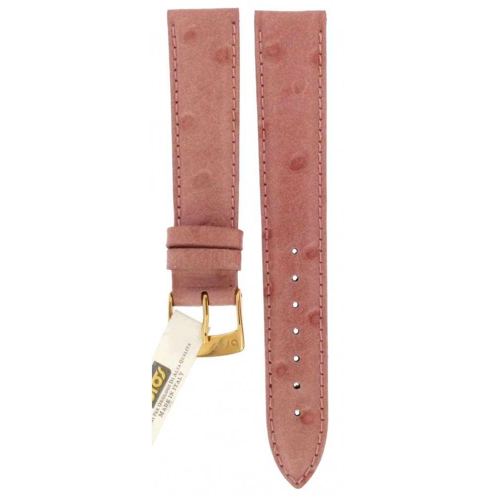 BROS OSTRICH PINK LEATHER STRAP 18MM ACC389-01