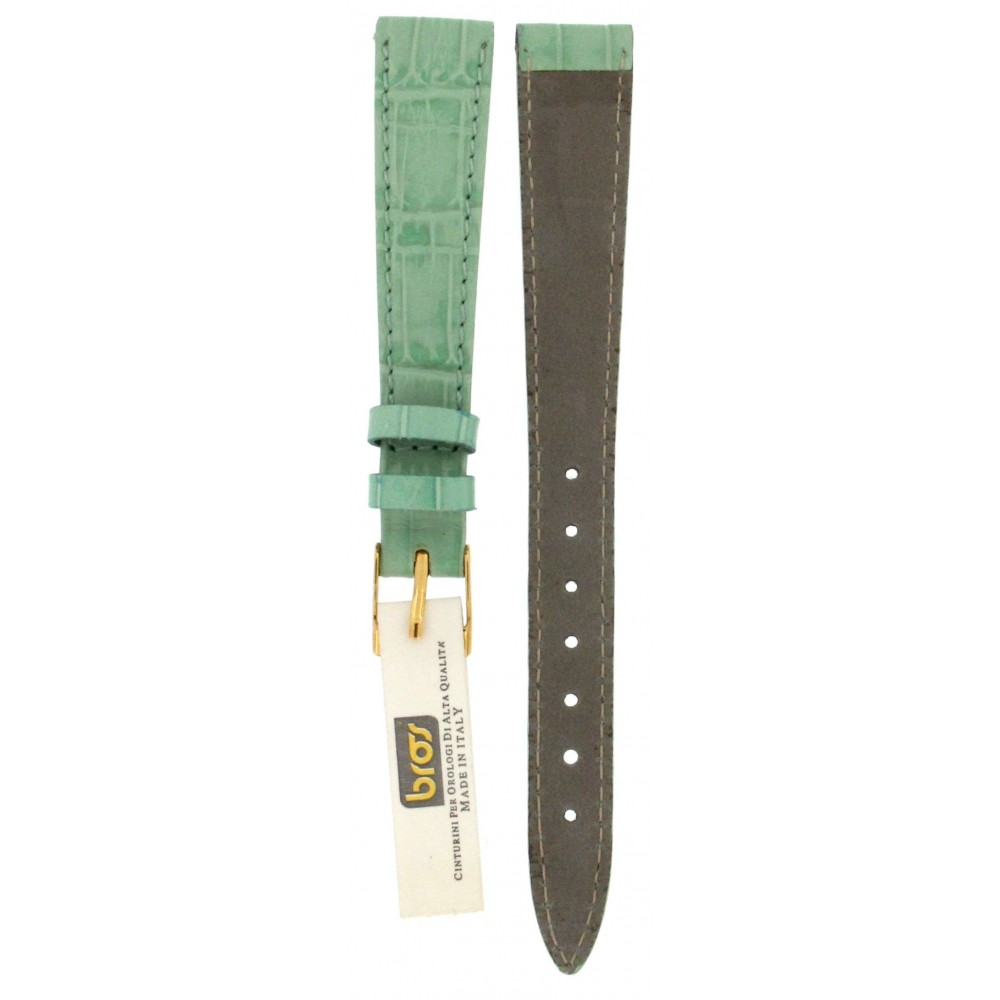 BROS LIGHT GREEN CROCODILE EMBOSSED LEATHER STRAP 14MM ACC383-02