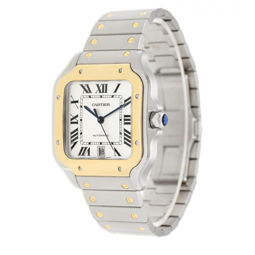 SANTOS DE CARTIER LARGE W2SA0009 STAINLESS STEEL YELLOW GOLD 39.8MM FULL SET LIKE NEW 2021 W5334 W2SA0009-010