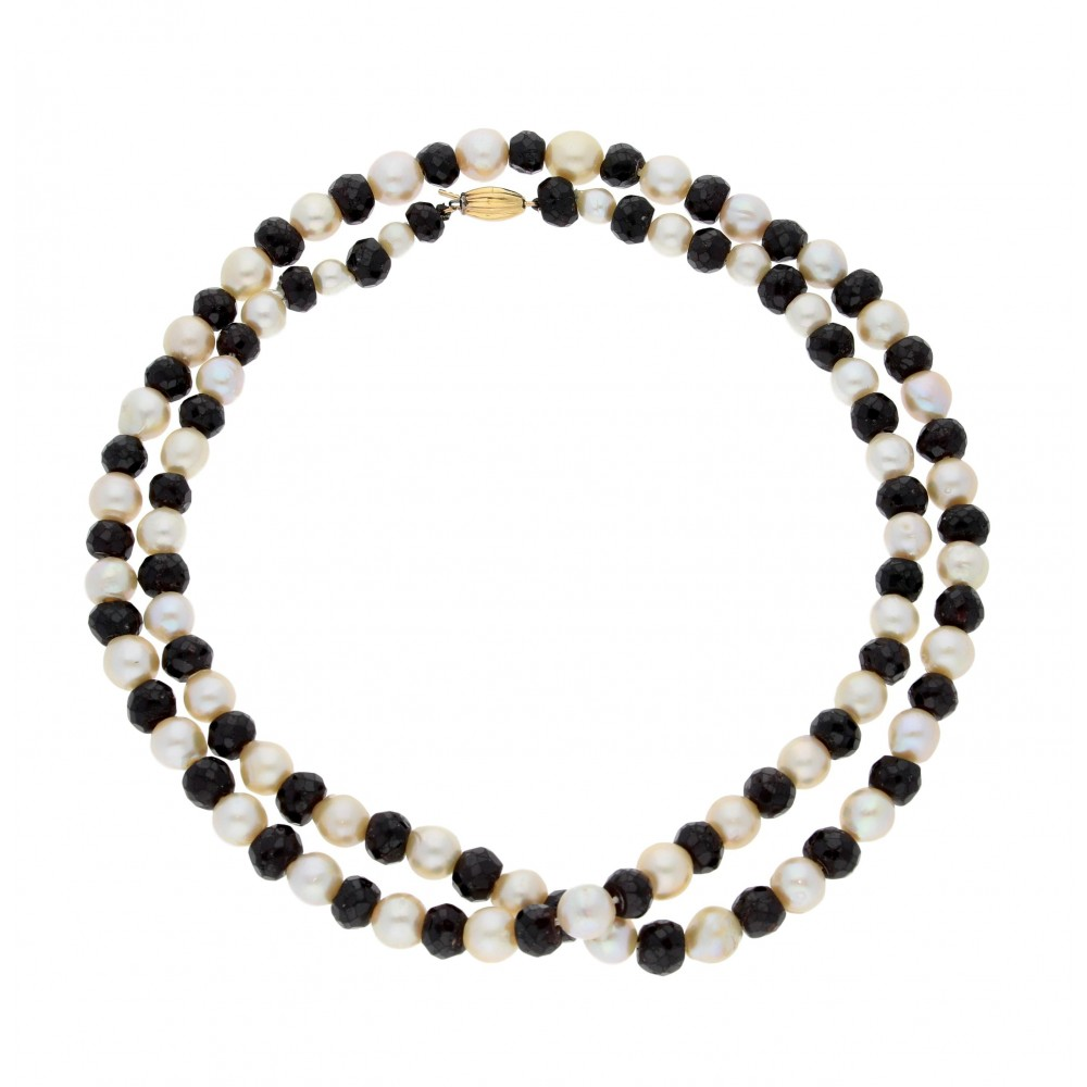 NECKLACE RIVER PEARL WITH GRANATE 93GR J895-01
