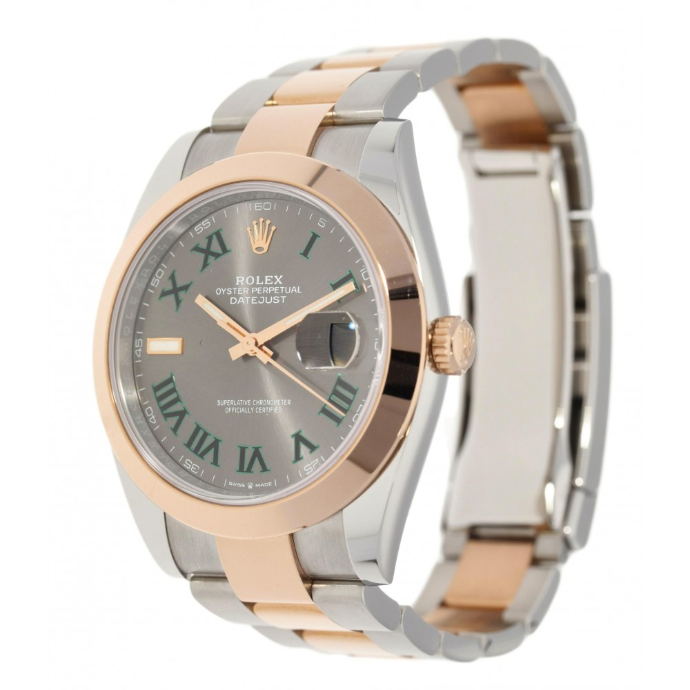 DATEJUST II 126301 STAINLESS STEEL ROSE GOLD 18K WIMBLEDON DIAL 41MM W3965 126301-05