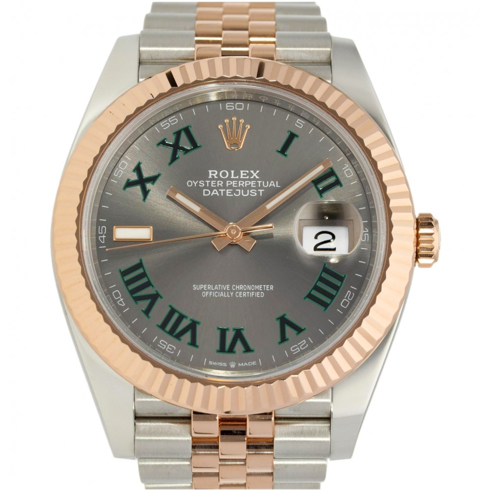 DATEJUST II 126331 WIMBLEDON IN STAINLESS STEEL ROSE GOLD 41MM NEW FULL SET W5187 126331-03
