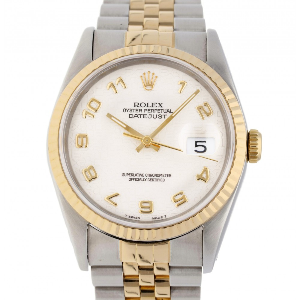 DATEJUST 36 16233 STAINLESS STEEL YELLOW GOLD 36MM W3380 16233-08