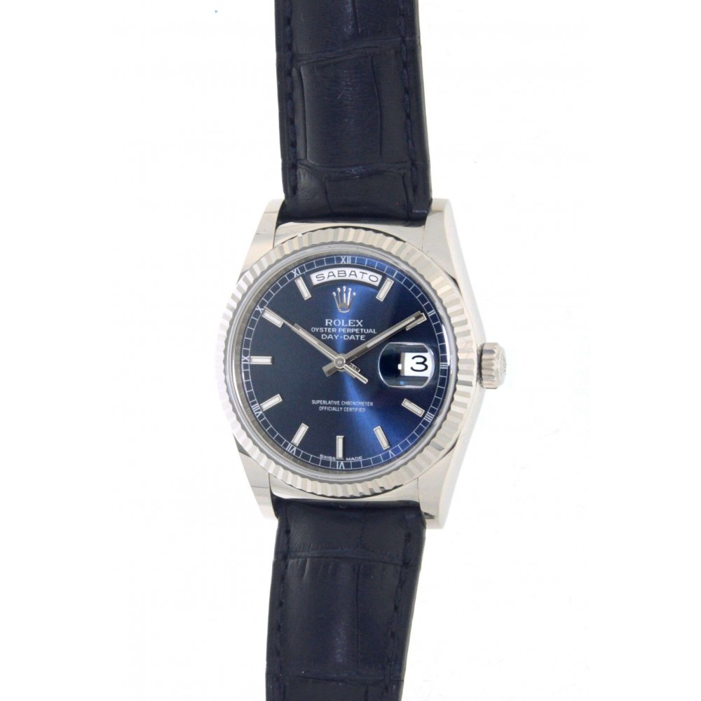 DAY DATE 118139 IN WHITE GOLD AND LEATHER, 36MM W539 118139-025