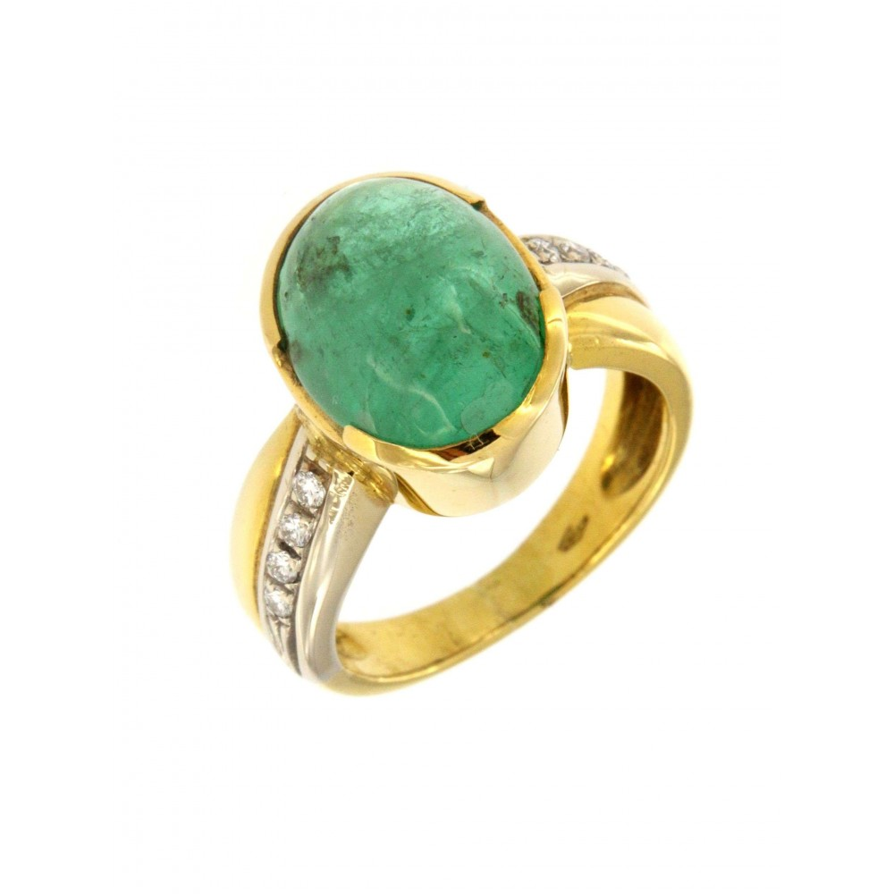 YELLOW GOLD RING WITH EMERALD AND DIAMOND J519-04