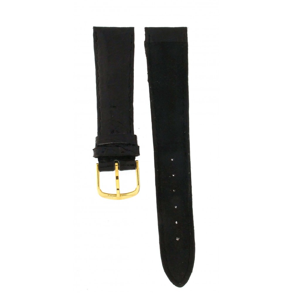 BLACK CROCODILE STRAP 20MM ACC150-02