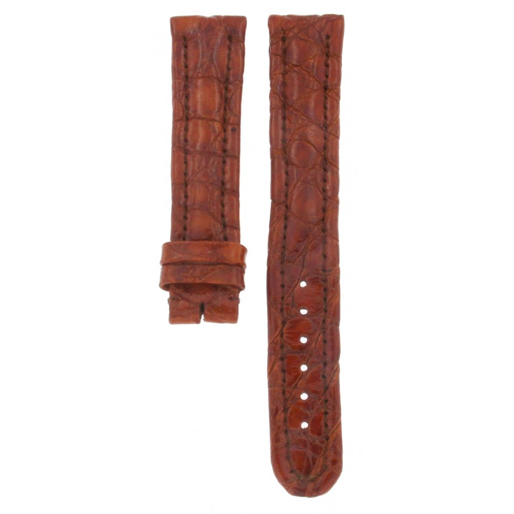 GENUINE LEATHER HAND MADE CROCODILE BROWN STRAP 18MM ACC251-01