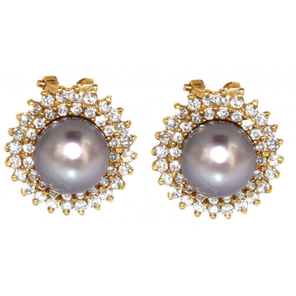 EARRINGS WITH DIAMOND AND PEARL J580-02