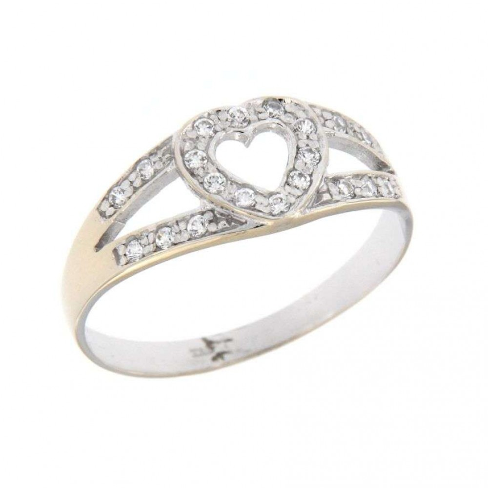 HEART WHITE GOLD RING WITH ZIRCONIUM J316-02