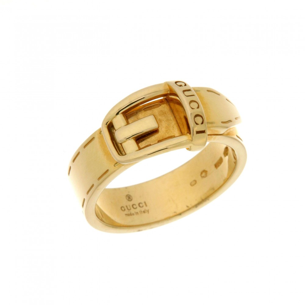 GUCCI BELT BUCKLE YELLOW GOLD RING J119-04