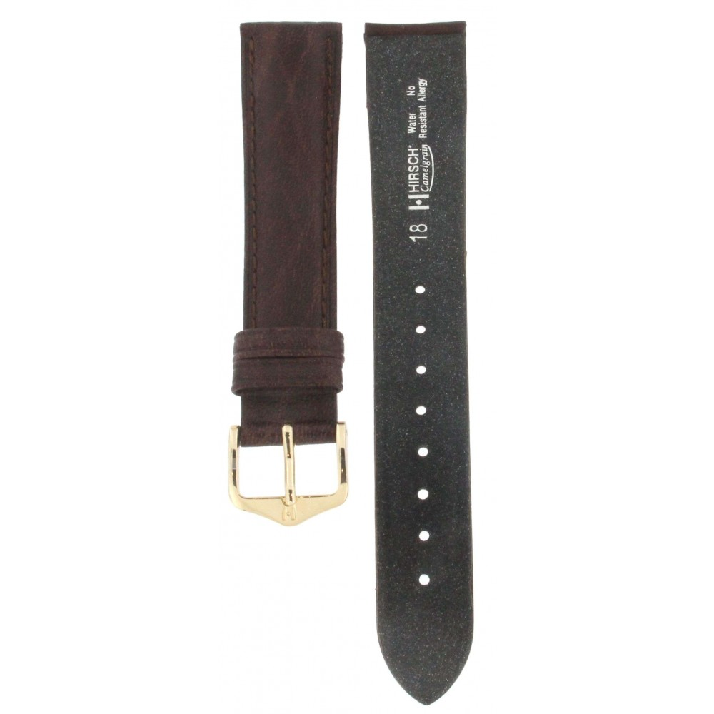 HIRSCH CAMELGRAIN DARK BROWN LEATHER STRAP 18MM ACC292-02