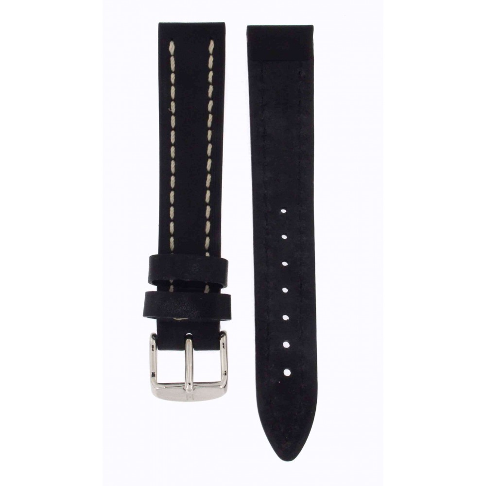 HIRSCH BLACK THICK CALF LEATHER BLACK 18MM ACC168-04