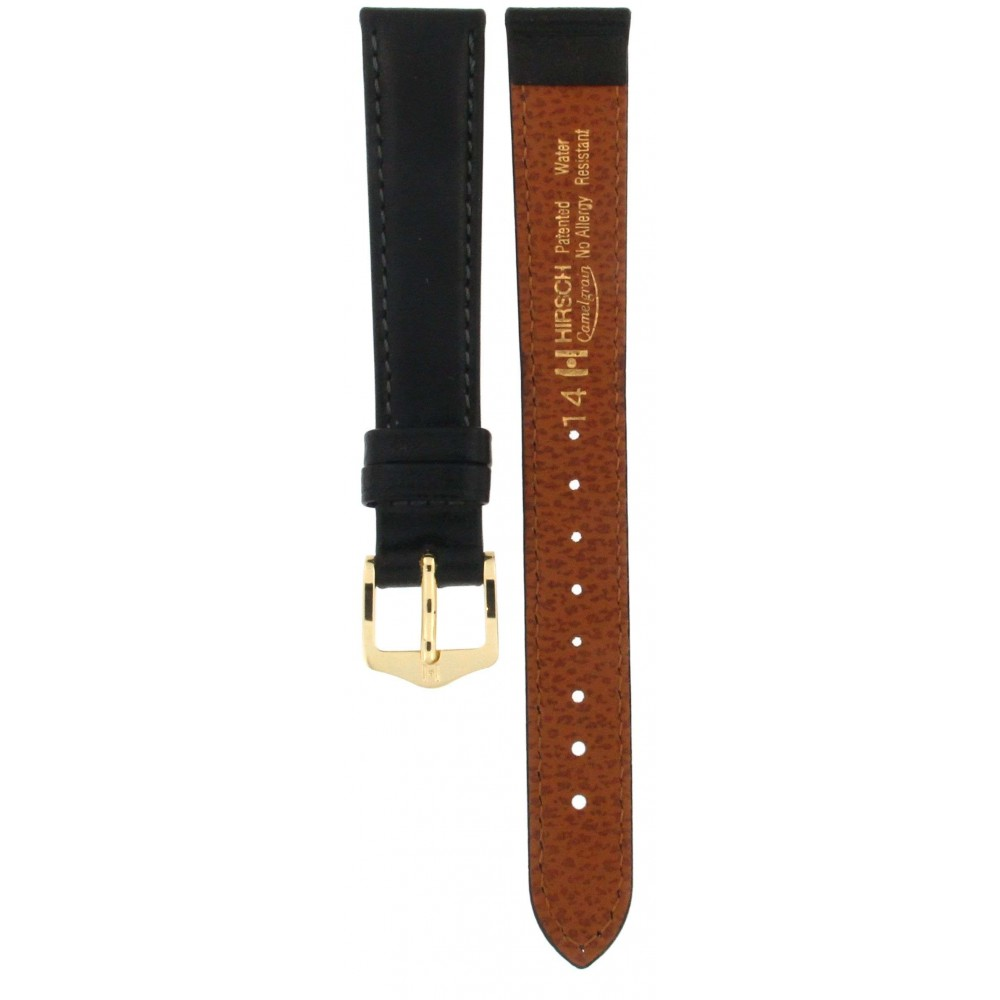 HIRSCH CAMELGRAIN BLACK LEATHER STRAP 14MM ACC331-01