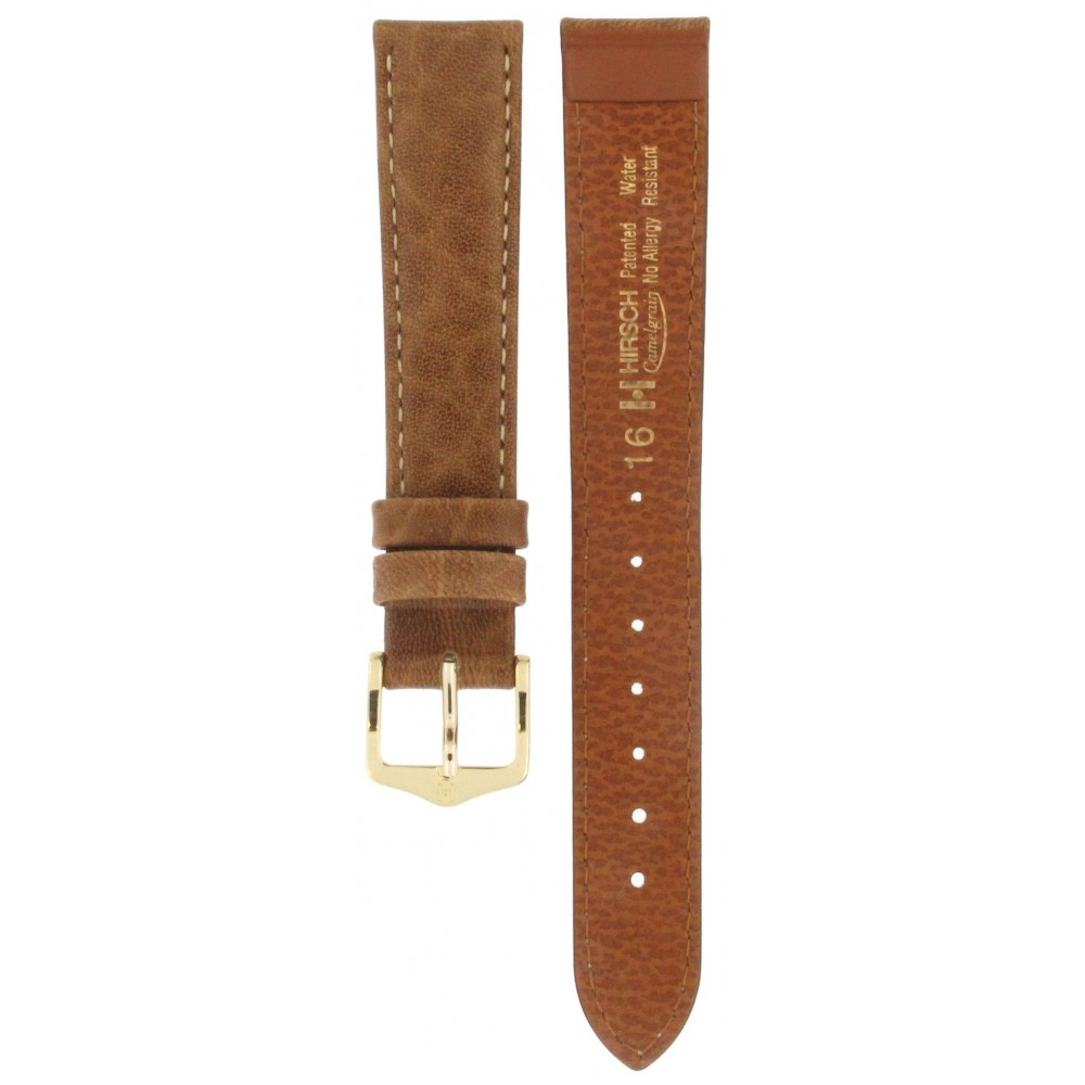 HIRSCH CAMELGRAIN BROWN LEATHER STRAP 16MM ACC315-02