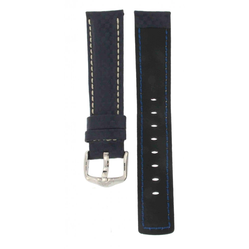 HIRSCH CARBON LEATHER WATER RESISTANT NAVY BLUE 20MM ACC188-02