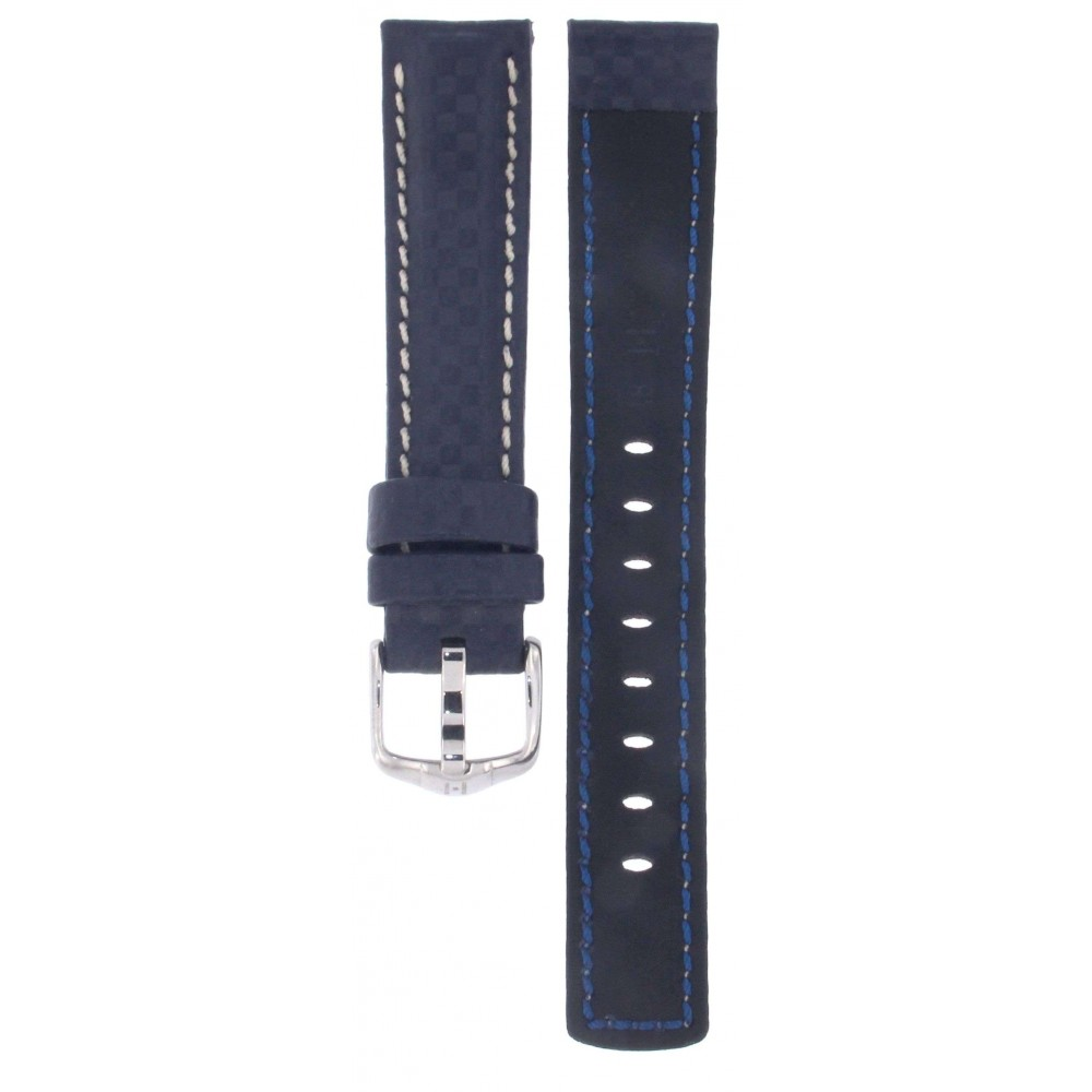 HIRSCH CARBON WATER RESISTANT BLUE LEATHER STRAP 18MM ACC299-04