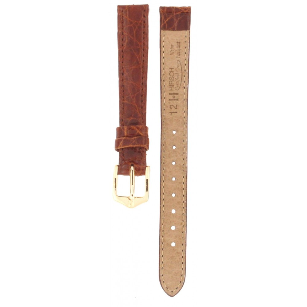 HIRSCH CERTIFIED CROCODILE BROWN LEATHER STRAP 12MM ACC366-01