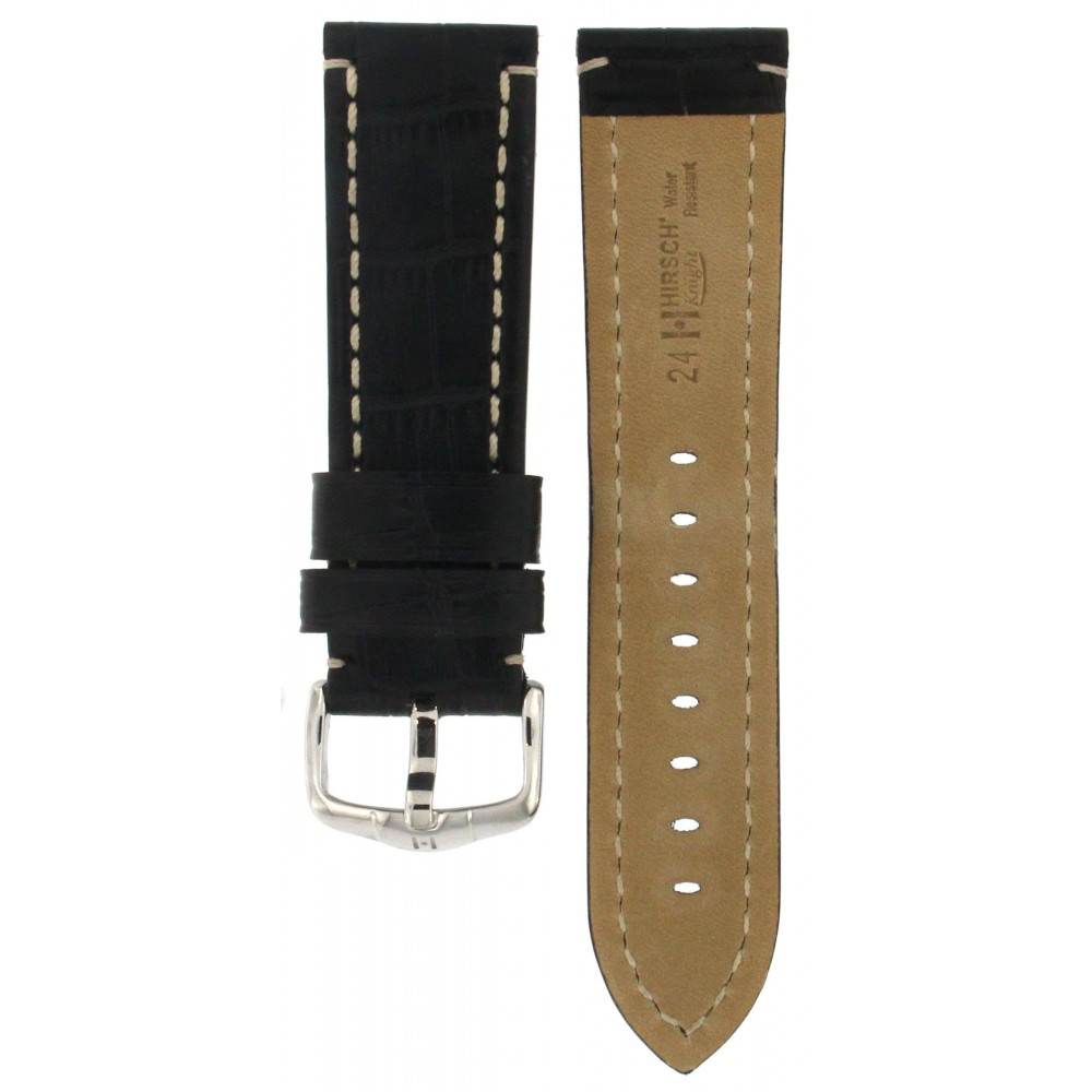 HIRSCH KNIGHT BLACK CROCODILE EMBOSSED LEATHER STRAP 24MM ACC392-01