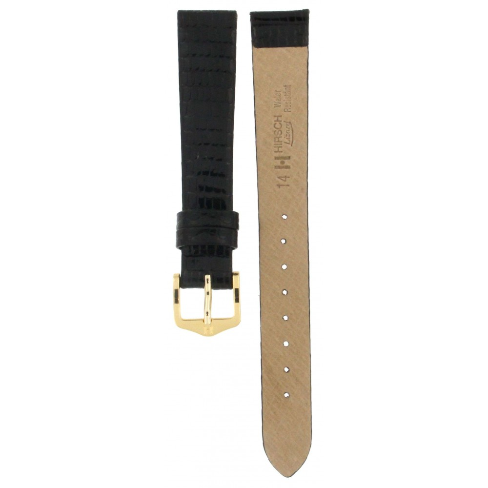 HIRSCH LIZARD BLACK LEATHER STRAP 14MM ACC329-01