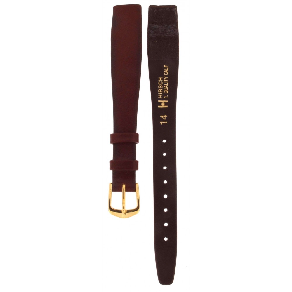 HIRSCH QUALITY CALF OPEN ENDED BORDEAUX LEATHER STRAP 14MM ACC353-02