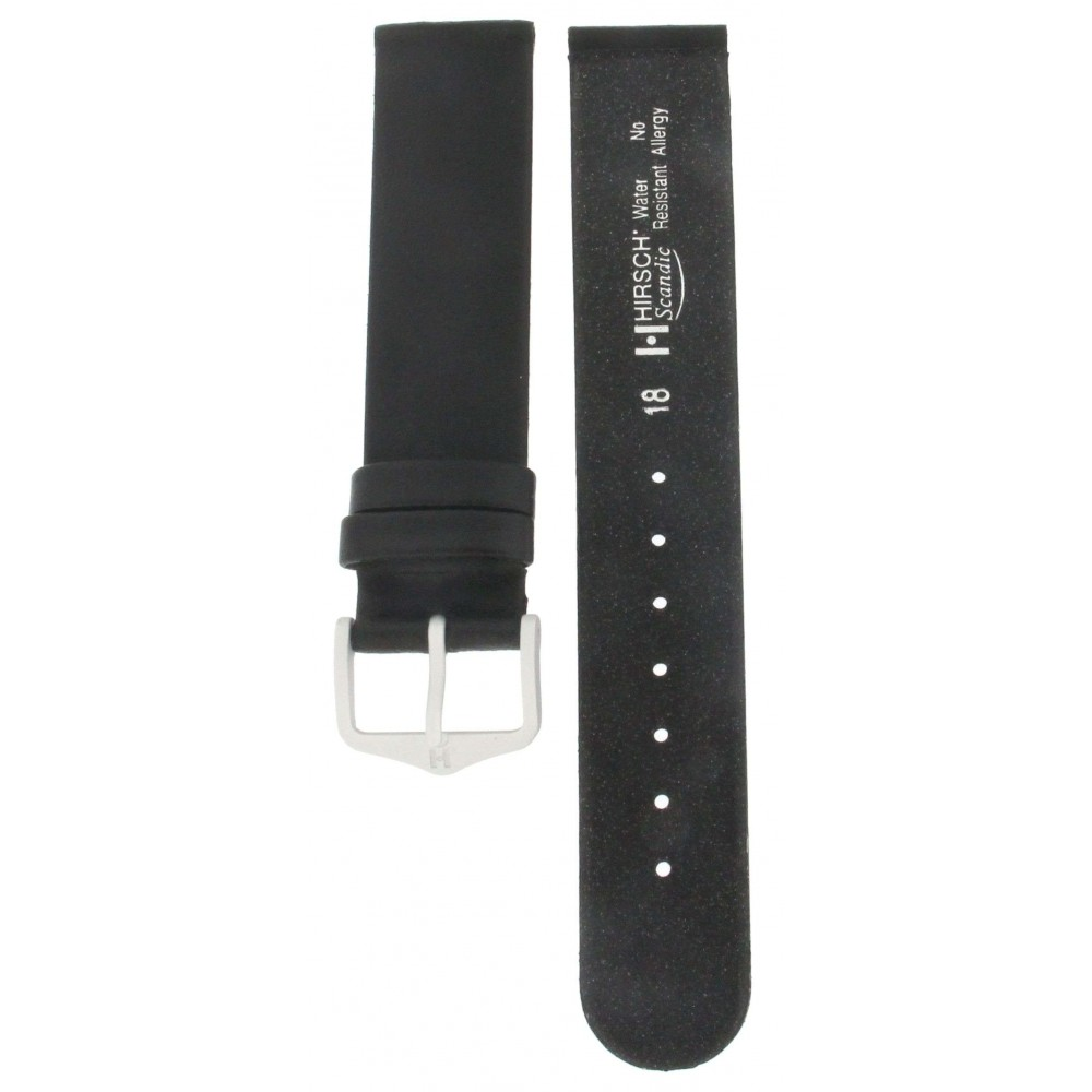 HIRSCH SCANDIC BLACK ANTI-ALLERGY STRAP 18MM ACC284-03