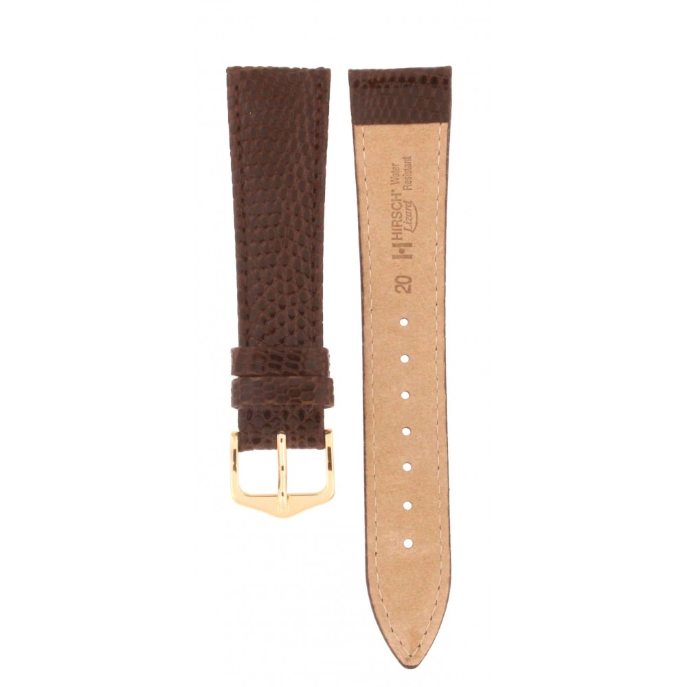 HIRSCH DARK BROWN LIZARD LEATHER STRAP 20MM ACC224-01