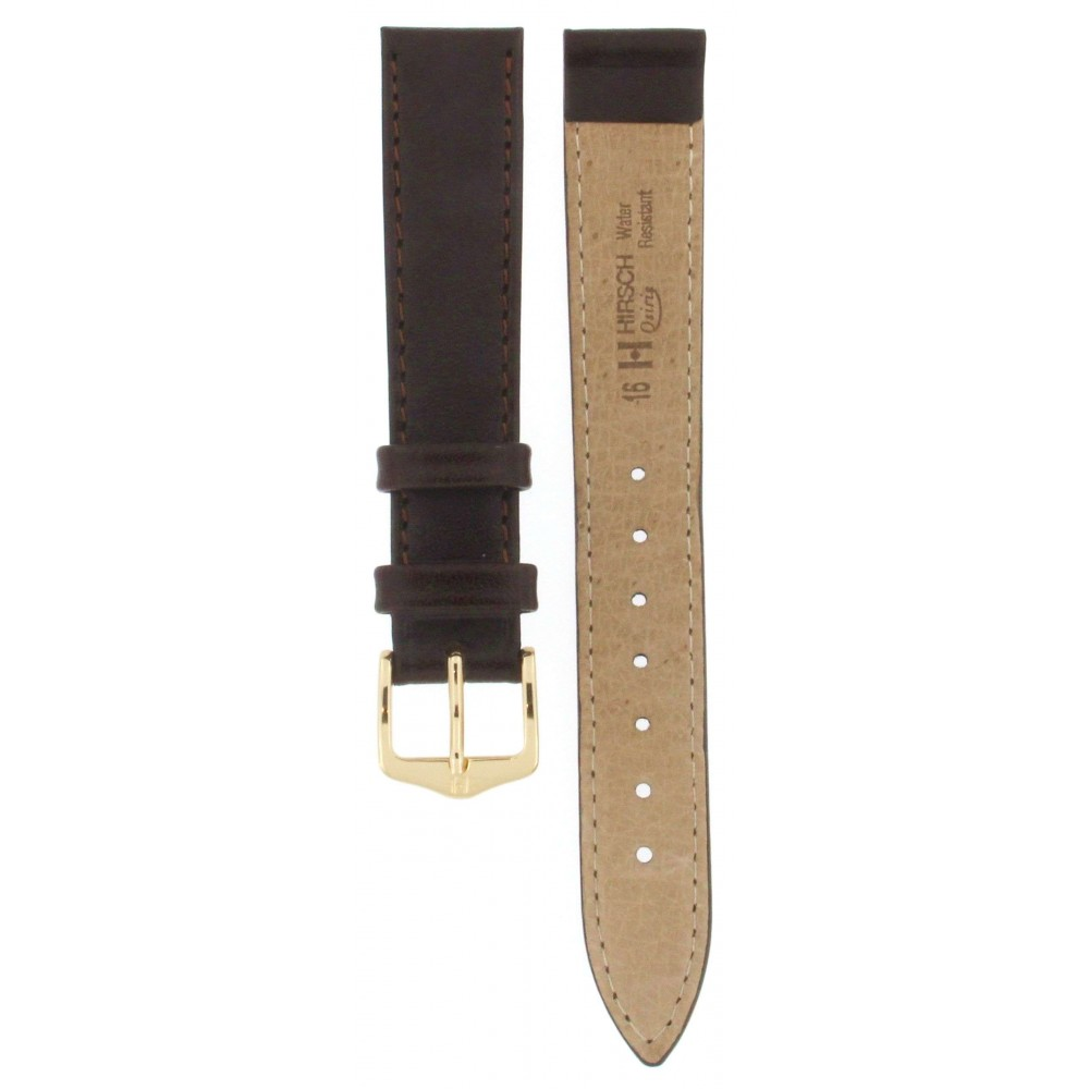 HIRSCH OSIRIS BROWN LEATHER STRAP 16MM ACC326-01