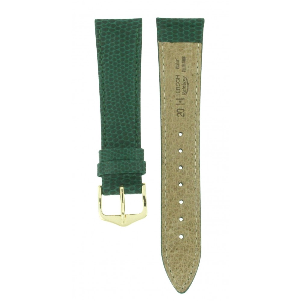 HIRSCH RAINBOW GREEN LEATHER 20MM ACC215-01
