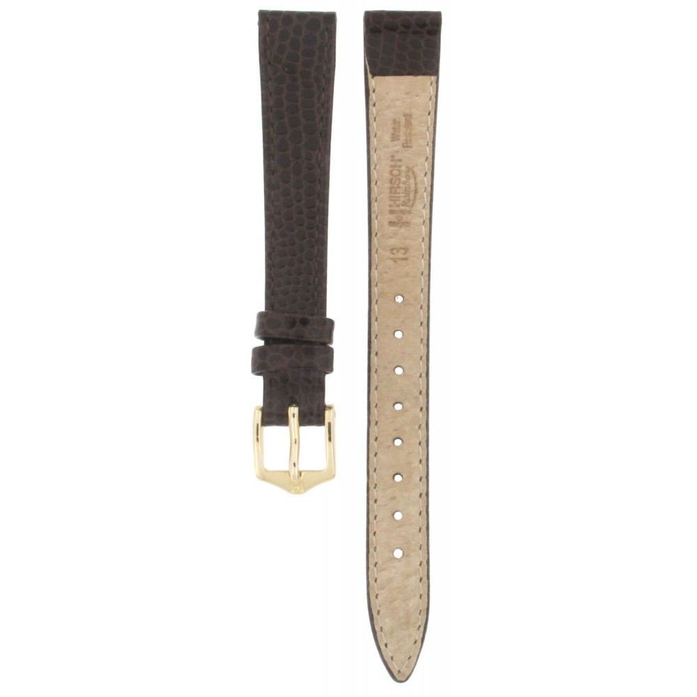 HIRSCH RAINBOW BROWN LIZARD EMBOSSED LEATHER STRAP 13MM ACC380-02