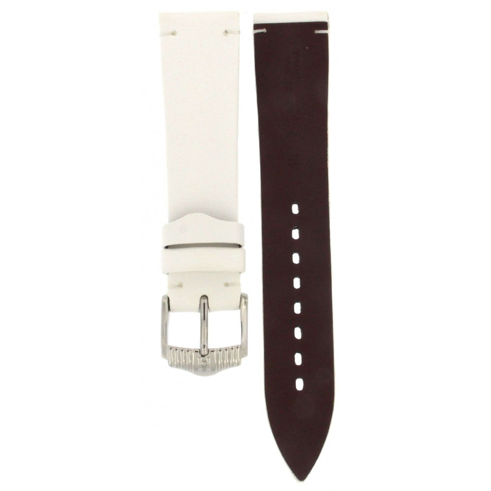 HIRSCH VERONA WHITE TEXTILE LEATHER STRAP 18MM ACC263-02