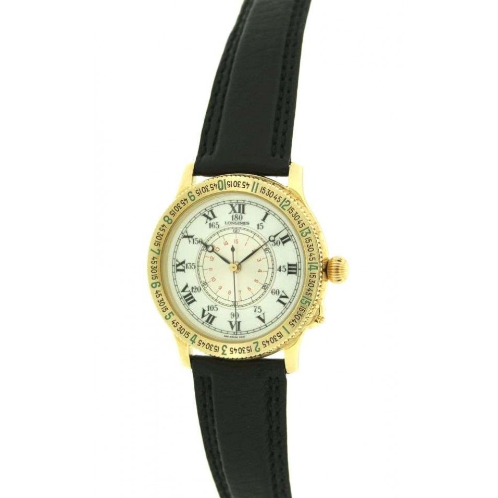 LINDBERGH HOUR ANGLE YELLOW GOLD LEATHER 38MM W192 9895216-04