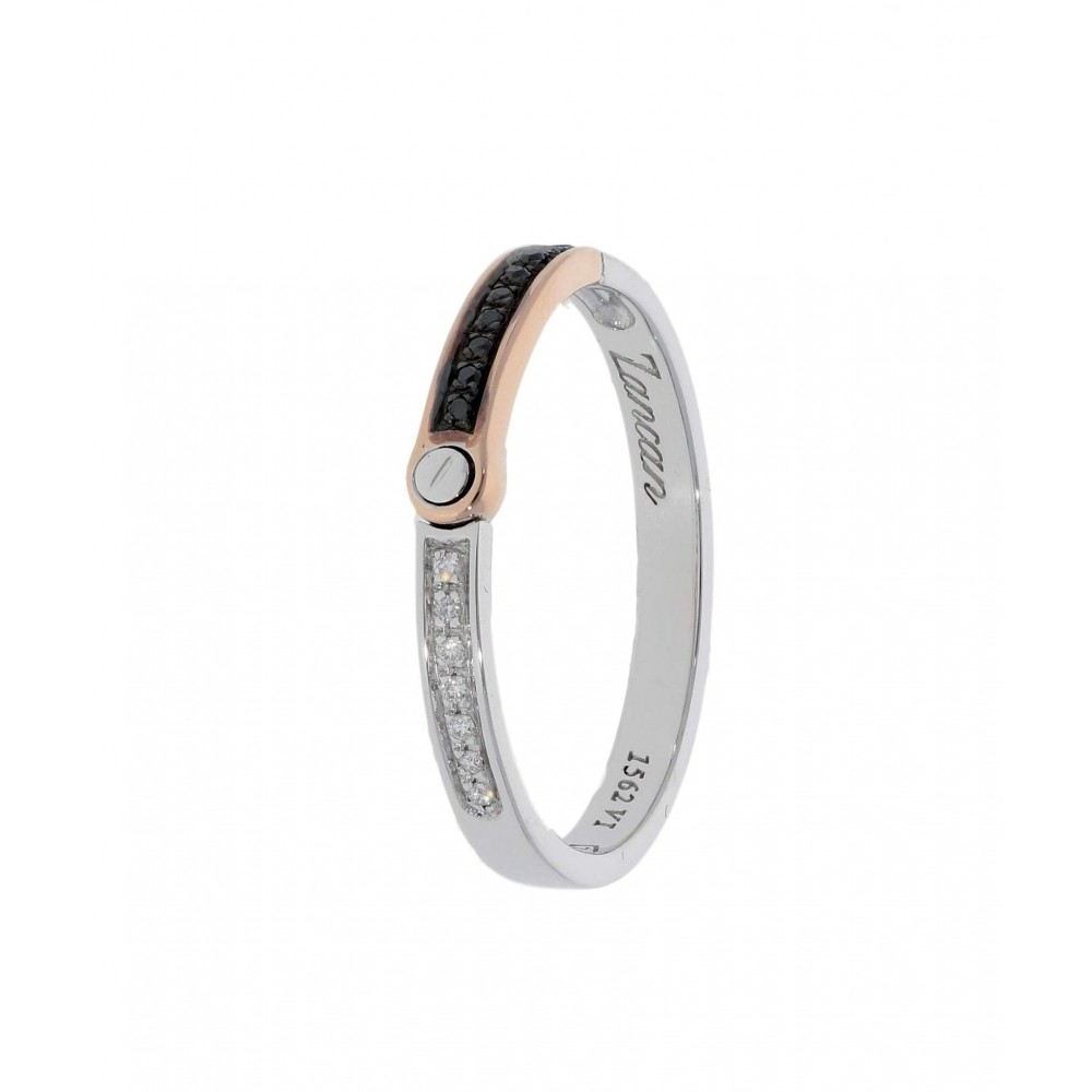 RING IN WHITE AND ROSE GOLD WITH WHITE AND BLACK DIAMONDS J1388-04