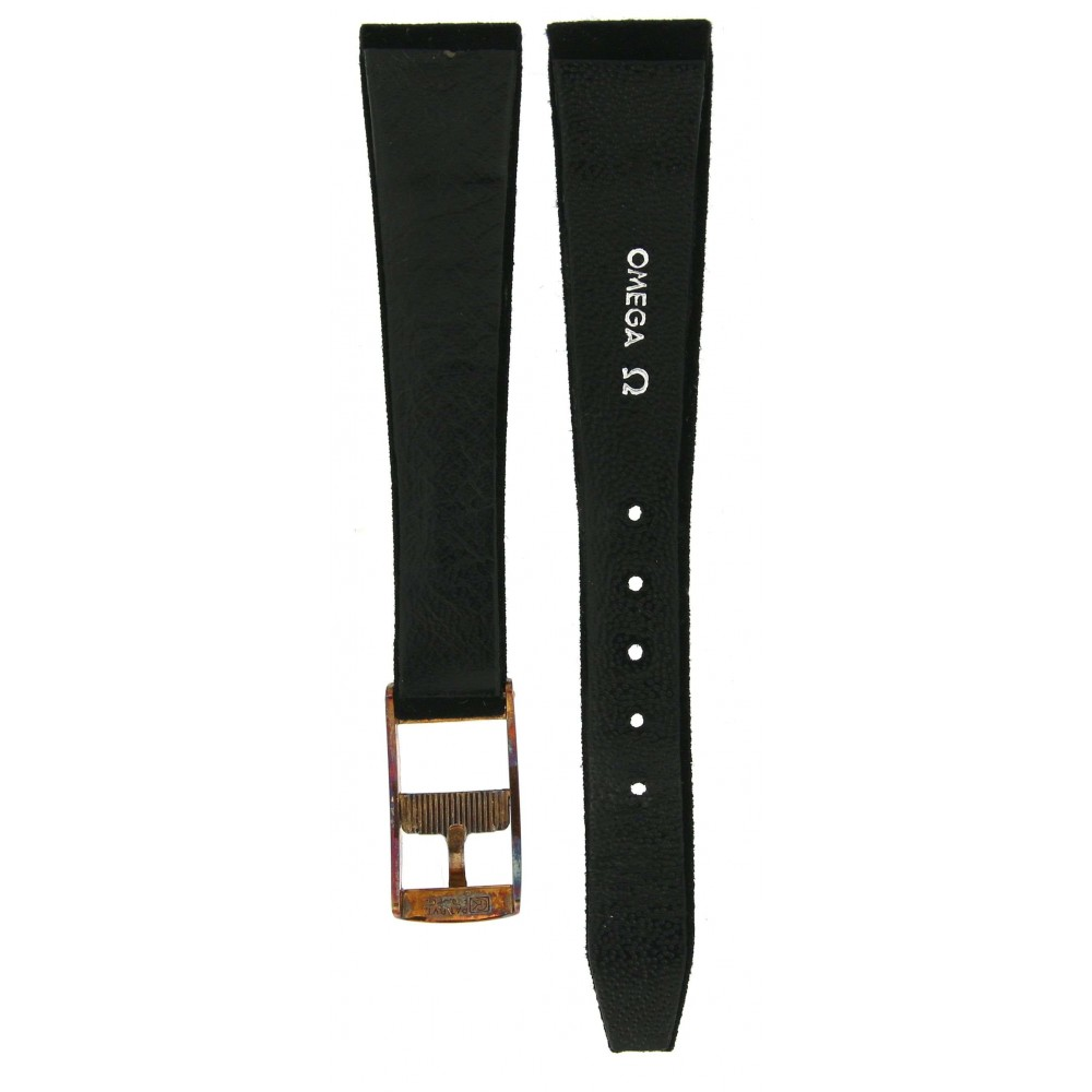 OMEGA CLASSIC CHAMOIS BLACK LEATHER STRAP 14.5MM/10MM ACC77-03