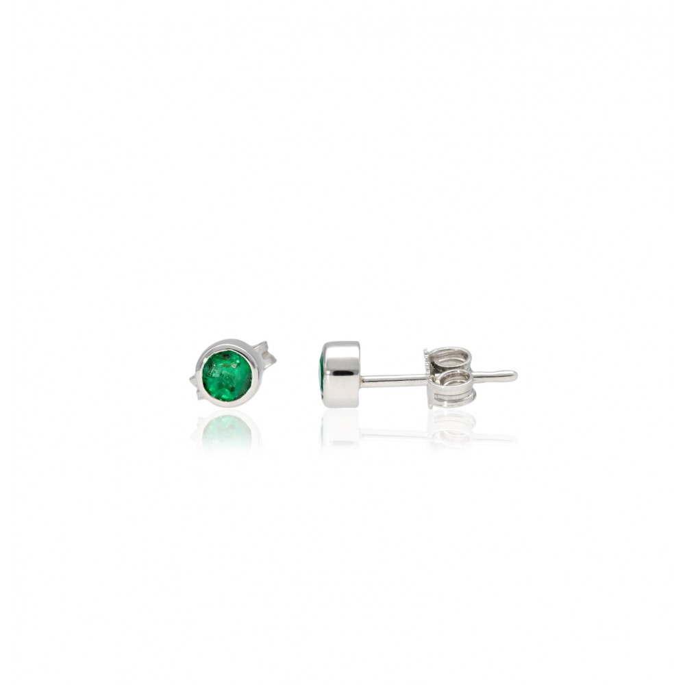 EARRING WHITE GOLD 18KT WITH EMERALD 1.49GR J1457-03