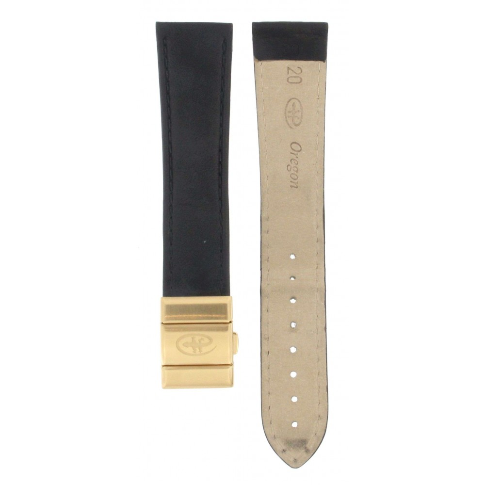 OREGON BLACK LEATHER and GOLD PLATED DEPLOYMENT BUCKLE STRAP 20MM ACC221-01