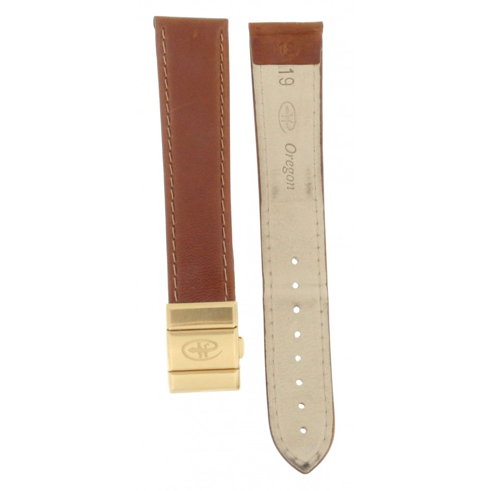 OREGON BROWN LEATHER and GOLD PLATED DEPLOYMENT BUCKLE STRAP 20MM ACC231-03